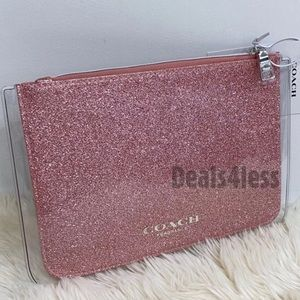 Coach Pouch Organizer Pink Shimmer Case Travel NWT